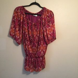 Dressbarn Multicolored Boho Short Sleeve Blouse